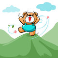 Cute Happy Bear Stand On The Mountain  Stock Photos - 56384663