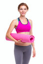 Portait Of Young Woman With Yoga Mat. Stock Photography - 56393432