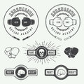 Boxing And Martial Arts Logo Badges And Labels In Vintage Style. Stock Photo - 56398700