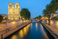 Night Scene Of Notre Dame De Paris Cathedral Royalty Free Stock Photography - 56406567