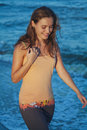 Young Romantic Girl On Beach At Sunset Royalty Free Stock Image - 56430666