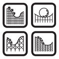 Roller Coaster Icon In Four Variations Royalty Free Stock Photos - 56436588