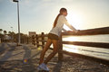 Young Jogger Exercising On The Coastline Royalty Free Stock Image - 56444316
