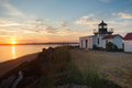 Bright Orange Sunrise Puget Sound Point No Point Lighthouse Stock Images - 56466784