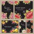 Set Of Invitation Card Templates With Flower Stock Image - 56467841