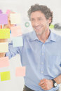 Puzzled Businessman Looking Post Its On The Wall Royalty Free Stock Photo - 56497435