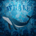 Vintage Poster With Whale On Marine Grunge Background. Royalty Free Stock Image - 56500896