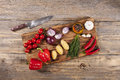 Vegetables On Wooden Board Stock Images - 56503574