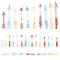 Color Set Of Hand Drawn, Vector Arrows. Ethnic Indian Arrow Royalty Free Stock Images - 56521499