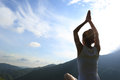 Young Yoga Woman At Sunrise Mountain Stock Images - 56530044