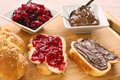 Sweet Bread Breakfast With Jam And Chocolate Cream Stock Images - 56534224