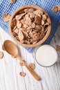Healthy Cereal Flakes And Milk Close-up. Vertical Top View Royalty Free Stock Photos - 56568098