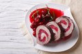 Beef Roll Stuffed With Cherries Close-up Horizontal Top View Royalty Free Stock Images - 56568889