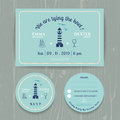 Nautical Light House Wedding Invitation And RSVP Card Template Set Stock Photos - 56572323