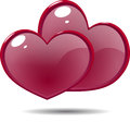 Two Shiny Icon Red Hearts Stock Image - 56576021