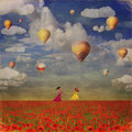 Grunge Image   Of Small Girls  With  Colorful Hot Air Balloons Royalty Free Stock Photography - 56576727