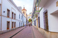 Very Cozy Charming Street In Old Part Of Bogota Royalty Free Stock Images - 56585039