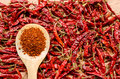 Red Dried Chili Pepper On Wooden Spoon Stock Images - 56588754