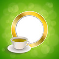 Abstract Background Drink Green Tea Cup Gold Circle Frame Illustration Stock Image - 56603481