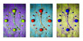 Textured Abstract Clock Face Showing 5 On Wooden Background,clocks Icons, Triptych In Purple,green And Blue Stock Photo - 56604730