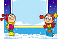Children Near The Winter Window Royalty Free Stock Image - 56604976
