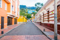 Charming Neighbourhood Of Colorful Two Storey Royalty Free Stock Images - 56610309