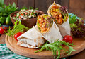 Burritos Wraps With Minced Beef And Vegetables Royalty Free Stock Photo - 56610905