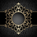 Gold Circle Frame Over Pattern Stock Photography - 56611652