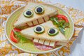 Funny Sandwich For Kids Lunch Royalty Free Stock Photo - 56615045