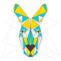 Abstract Kangaroo. Blue, Yellow And Grey Blended Colored Polygonal Triangle Geometric Portrait  On White Stock Photos - 56620523