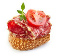 Toasted Bread With Salami And Tomato Royalty Free Stock Image - 56621856