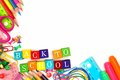 Back To School Wooden Blocks With Corner Border Stock Photography - 56623922