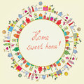 Home Sweet - Funny Graphic Card Royalty Free Stock Images - 56646959