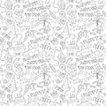 Happy Birthday Party Doodle Black And White Seamless Pattern Stock Photos - 56654693