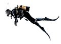Man Scuba Diver Diving Silhouette Isolated Stock Photography - 56659182