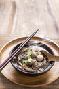 Beef Noodle Soup,Close Up Of A Wooden Bowl Stock Images - 56661994