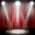 Spotlight On Stage Curtain Red Background. Royalty Free Stock Photo - 56670165