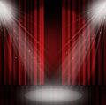 Spotlight On Stage Curtain Red Background. Royalty Free Stock Image - 56670196
