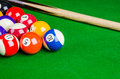 Billiard Balls On Green Table With Billiard Cue, Snooker, Pool. Royalty Free Stock Photos - 56673478