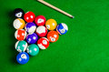 Billiard Balls On Green Table With Billiard Cue, Snooker, Stock Photos - 56673703