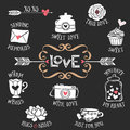 Hand Drawn Decorative Love Badges With Lettering Sweet Things Stock Photos - 56674043