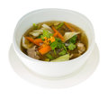 Thai Soup With Chenken And Vegetable (Tom Jued) Isolated On Whit Royalty Free Stock Photos - 56681028