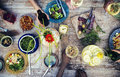 Food Table Healthy Delicious Organic Meal Concept Royalty Free Stock Image - 56681436