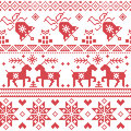 Christmas Nordic Cross Stitch Pattern Including Reindeer, Snowflake, Star, Xmas Tree, Bell, Presents In Red Royalty Free Stock Images - 56689709