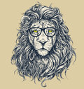 Hipster Lion Vector Illustration. Glasses Separated. Royalty Free Stock Photo - 56703415