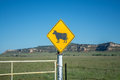 Cow Crossing Sign Stock Photos - 56704563