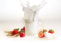 Milk And Strawberry On A White Background, Milk Splash In A Tran Stock Image - 56717741