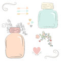 Cute Bouquet Of Wedding Flowers In A Glass Jar. Vector Illustrat Royalty Free Stock Photography - 56732347
