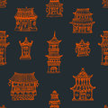 Oriental Houses Seamless Pattern Royalty Free Stock Photo - 56734735