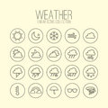 Weather Linear Icons Royalty Free Stock Photo - 56736385